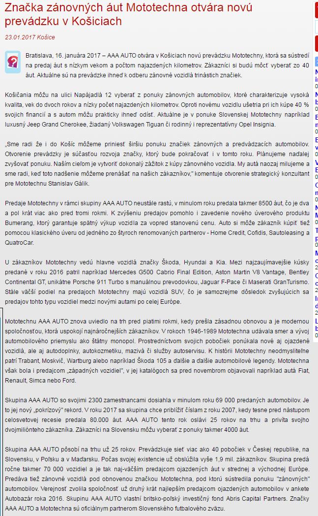 9d6010ea9257 Život Prešova online  Značka zánovných áut Mototechna otvára novú ...